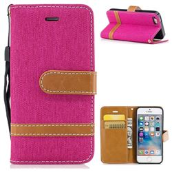 Jeans Cowboy Denim Leather Wallet Case for iPhone SE 5s 5 - Rose