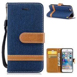 Jeans Cowboy Denim Leather Wallet Case for iPhone SE 5s 5 - Dark Blue