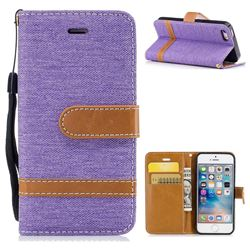 Jeans Cowboy Denim Leather Wallet Case for iPhone SE 5s 5 - Purple