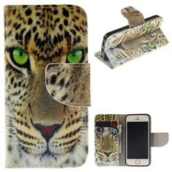 Yellow Tiger PU Leather Wallet Case for iPhone SE 5s 5