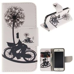 Cycling Dandelion PU Leather Wallet Case for iPhone SE 5s 5