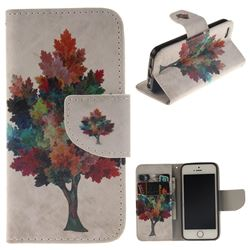 Colored Tree PU Leather Wallet Case for iPhone SE 5s 5