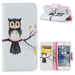 Owl on Tree Leather Wallet Case for iPhone SE 5s 5