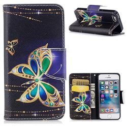 Golden Shining Butterfly Leather Wallet Case for iPhone SE 5s 5