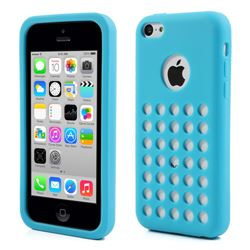 Silicone Case for iPhone 5c with 35 Hollow holes and Logo Cutout - Blue