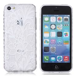 White Rose Painted Non-slip TPU Back Cover for iPhone 5c