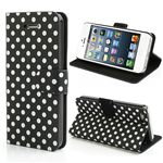 Polka Dots Pattern Leather Wallet Case for iPhone 5c - White Dots / Black