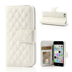 Rhombus Pattern Leather Wallet Case for iPhone 5c - White
