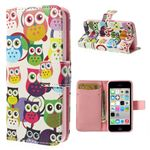 Cute Owls Leather Flip Cover for iPhone 5c