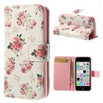 Blooming Rose Leather Flip Cover for iPhone 5c