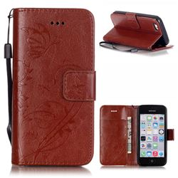 Embossing Butterfly Flower Leather Wallet Case for iPhone 5c - Brown