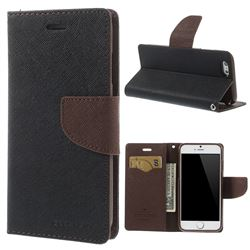 Mercury Goospery Fancy Diary Leather Cover for iPhone 6 (4.7 inch) - Black + Brown
