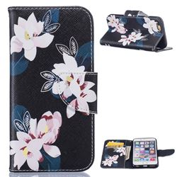 Black Lily Leather Wallet Case for iPhone 6 6s (4.7 inch)