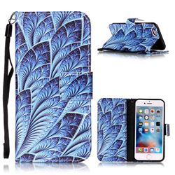 Blue Feather Leather Wallet Phone Case for iPhone 6s 6 (4.7 inch)