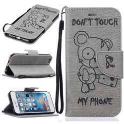 Intricate Embossing Chainsaw Bear Leather Wallet Case for iPhone 6s 6 (4.7 inch) - Gray
