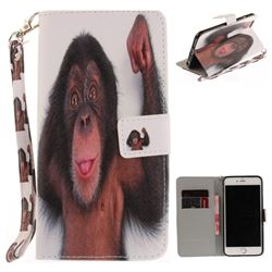 Cute Monkey Hand Strap Leather Wallet Case for iPhone 6s 6 6G(4.7 inch)