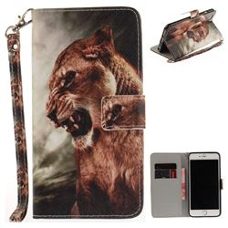 Majestic Lion Hand Strap Leather Wallet Case for iPhone 6s 6 6G(4.7 inch)