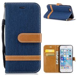 Jeans Cowboy Denim Leather Wallet Case for iPhone 6s 6 6G(4.7 inch) - Dark Blue