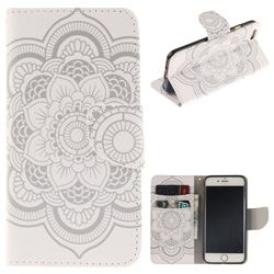 White Flowers PU Leather Wallet Case for iPhone 6s 6 6G(4.7 inch)