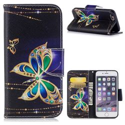Golden Shining Butterfly Leather Wallet Case for iPhone 6s 6 6G(4.7 inch)