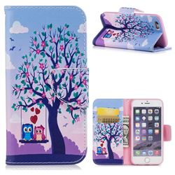 Tree and Owls Leather Wallet Case for iPhone 6s 6 6G(4.7 inch)
