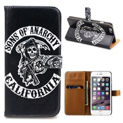Black Skull Leather Wallet Case for iPhone 6 Plus (5.5 inch)