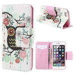 Cross Pattern Cute Owl Leather Wallet Case for iPhone 6 Plus (5.5 inch)