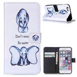 Be Happy Elephant Leather Wallet Case for iPhone 6 Plus (5.5 inch)