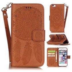 Embossing Campanula Flower Leather Wallet Case for iPhone 6s Plus / 6 Plus 5.5 inch - Brown