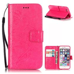 Embossing Butterfly Flower Leather Wallet Case for iPhone 6s Plus / iPhone 6 Plus (5.5 inch) - Rose