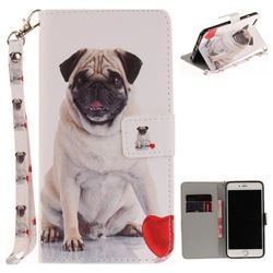 Pug Dog Hand Strap Leather Wallet Case for iPhone 6s Plus / 6 Plus 6P(5.5 inch)