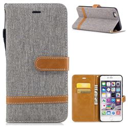 Jeans Cowboy Denim Leather Wallet Case for iPhone 6s Plus / 6 Plus 6P(5.5 inch) - Gray