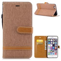 Jeans Cowboy Denim Leather Wallet Case for iPhone 6s Plus / 6 Plus 6P(5.5 inch) - Brown