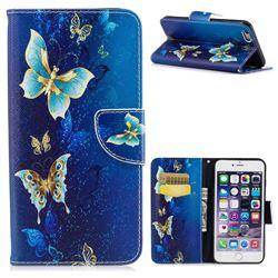 Golden Butterflies Leather Wallet Case for iPhone 6s Plus / 6 Plus 6P(5.5 inch)