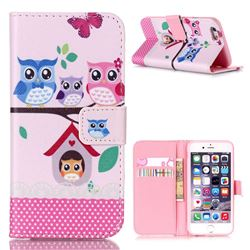 Family Owls Leather Wallet Case for iPhone 6s Plus (5.5 inch)