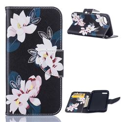 Black Lily Leather Wallet Case for iPhone 7 (4.7 inch)