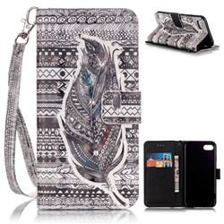 Tribe Feather 3D Painted Leather Wallet Case for iPhone 7 (4.7 inch)