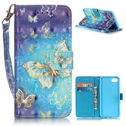 Gold Butterfly 3D Painted Leather Wallet Case for iPhone 7 (4.7 inch)