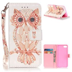 Shell Owl 3D Painted Leather Wallet Case for iPhone 7 (4.7 inch)