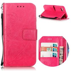 Embossing Butterfly Flower Leather Wallet Case for iPhone 7 (4.7 inch) - Rose