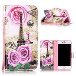 Rose Eiffel Tower Leather Wallet Phone Case for iPhone 7 (4.7 inch)