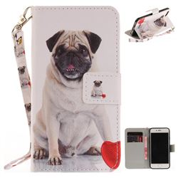 Pug Dog Hand Strap Leather Wallet Case for iPhone 7 7G(4.7 inch)