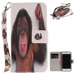 Cute Monkey Hand Strap Leather Wallet Case for iPhone 7 7G(4.7 inch)