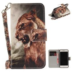 Majestic Lion Hand Strap Leather Wallet Case for iPhone 7 7G(4.7 inch)