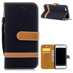 Jeans Cowboy Denim Leather Wallet Case for iPhone 7 7G(4.7 inch) - Black