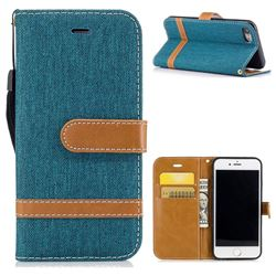 Jeans Cowboy Denim Leather Wallet Case for iPhone 7 7G(4.7 inch) - Green
