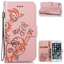 Embossing Narcissus Butterfly Leather Wallet Case for iPhone 7 7G(4.7 inch) - Pink