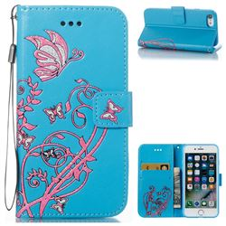 Embossing Narcissus Butterfly Leather Wallet Case for iPhone 7 7G(4.7 inch) - Blue