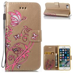 Embossing Narcissus Butterfly Leather Wallet Case for iPhone 7 7G(4.7 inch) - Golden