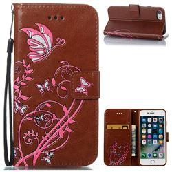 Embossing Narcissus Butterfly Leather Wallet Case for iPhone 7 7G(4.7 inch) - Brown